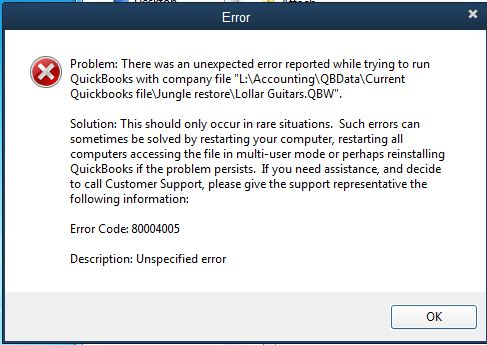 Error Code 80004005