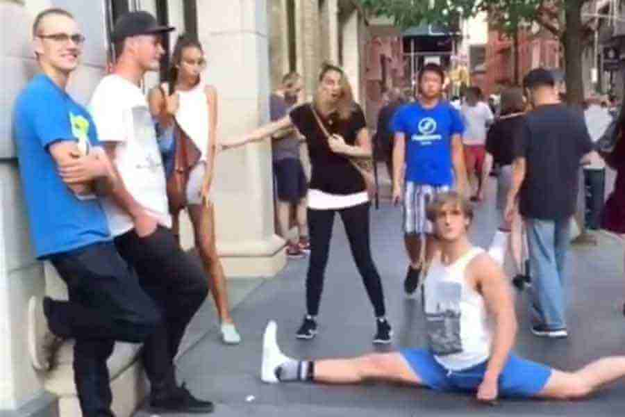 Watch This Hilarious Video Of Vine Star 'Logan Paul' Doing Random Splits In NY
