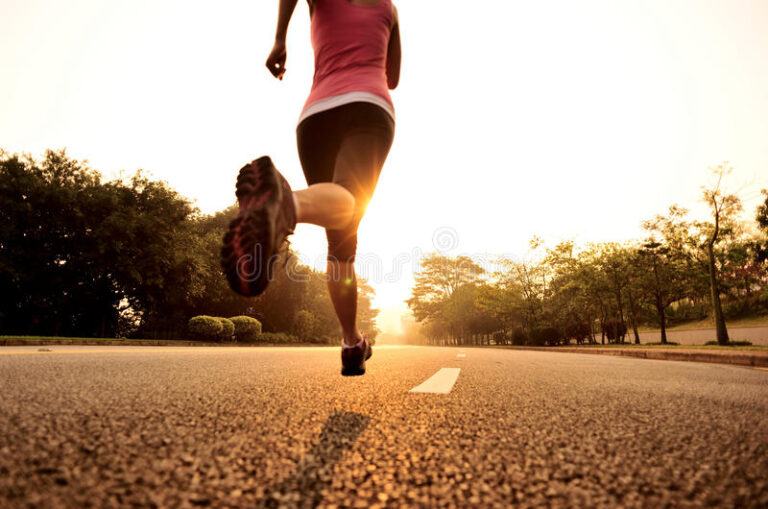 healthy lifestyle fitness sports woman running sunrise road 39709089
