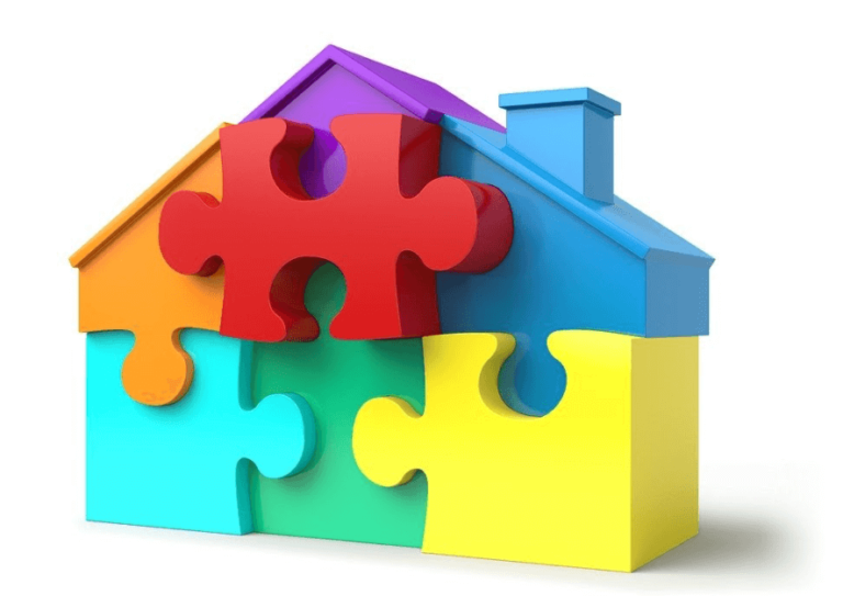 puzzle pieces house